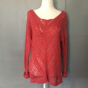 American Eagle coral lace knit pullover sweater